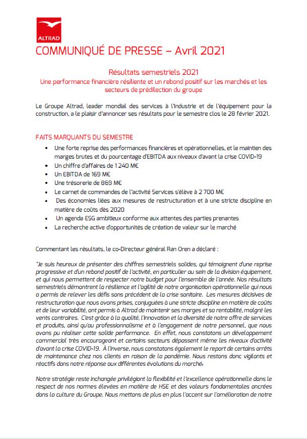 RESULTATS SEMESTRIELS DU GROUPE ALTRAD A MI-2021 - PUBL. 19/04/2021